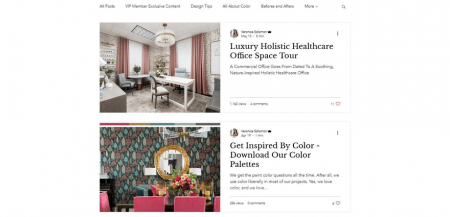Lux Living Weekly blog page uses borders to give a distinct look.