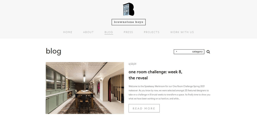 Brownstone Boys blog page lets you filter posts by categories.