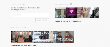 Brownstone Boys footer starts with an email signup form
