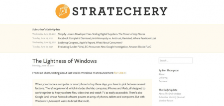 Stratechery blog page uses light yellow color to highlight areas.