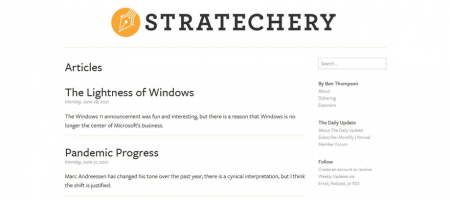 Stratechery articles are minimal and clutter-free.