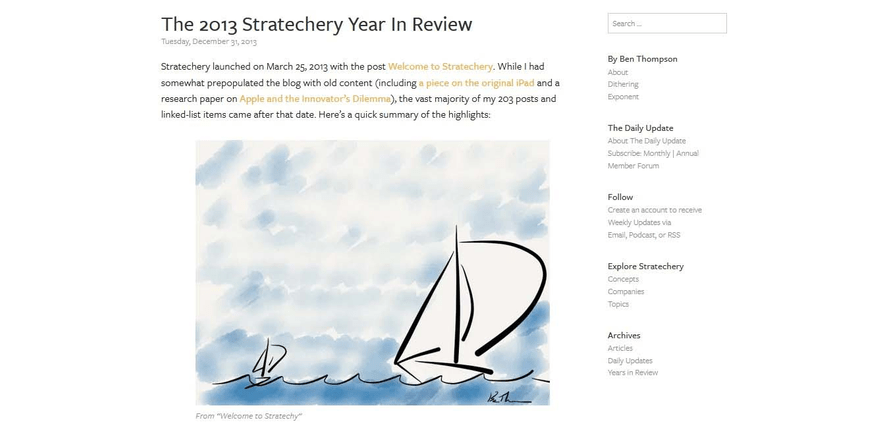 Stratechery blog posts use yellow beautifully to highlight links.