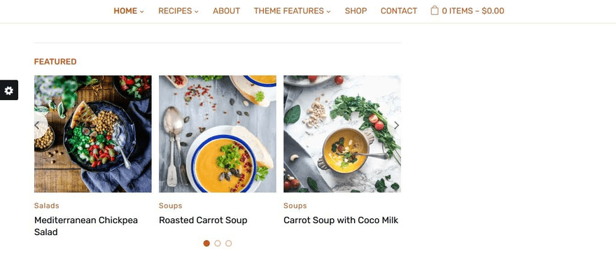 Cookely theme's content area has a carousel slider.