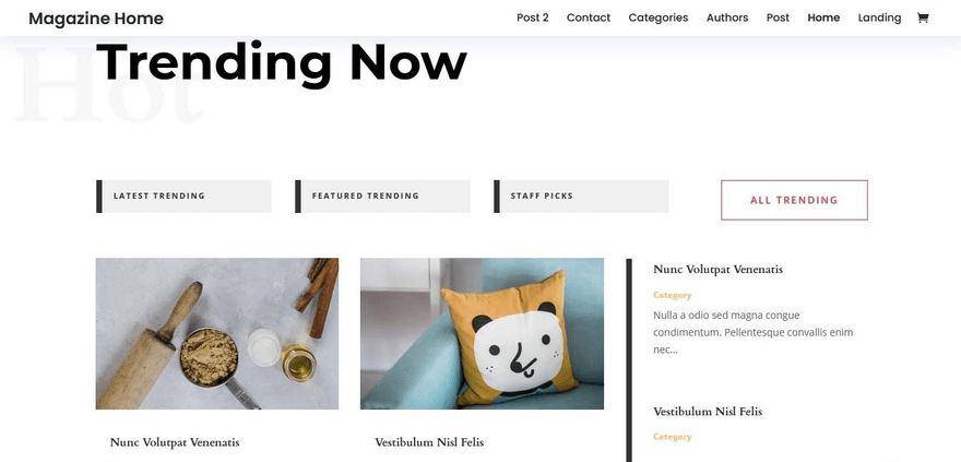 Divi posts are filterable by trending, featured and staff picks.