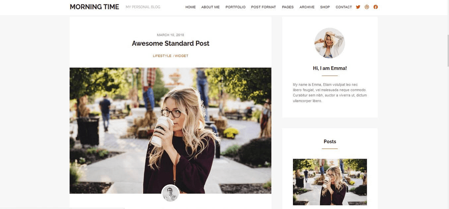 The Morning Time blog theme looks clean and organized.