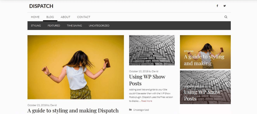 GeneratePress blog home with two navigation bars.