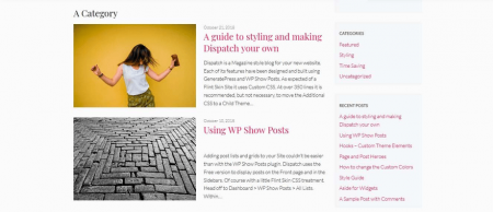 GeneratePress' blog page sports a minimal design.