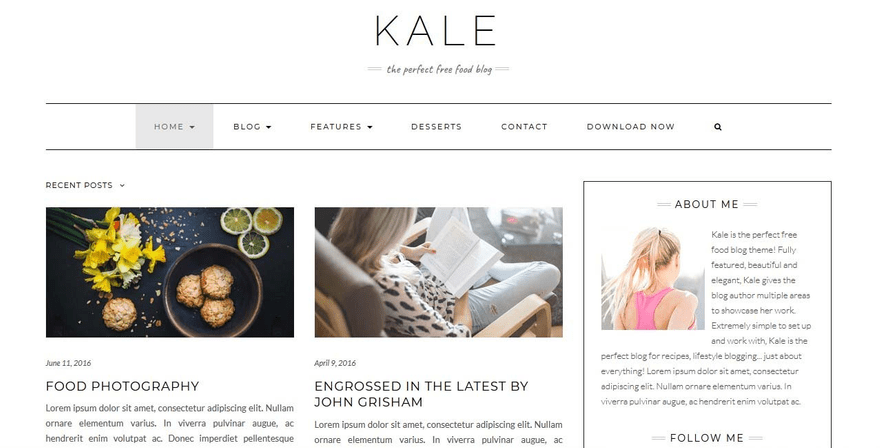 Kale blog home with the author bio.