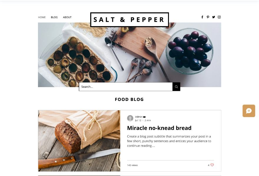 Example of Wix food blog template