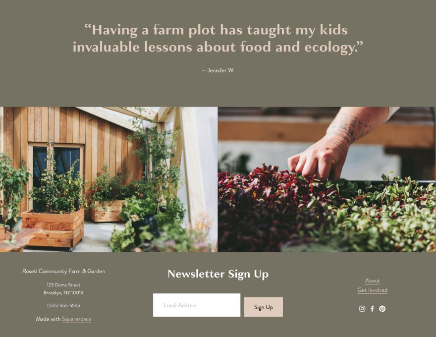 Example of squarespace template