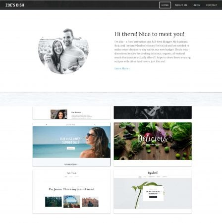 Example of Weebly blog template