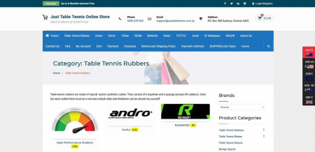 Just Table Tennis's category page has an information-rich header background.
