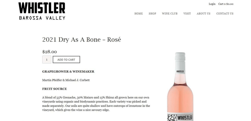Whistler Wines's Square Online store sports elaborate product descriptions.