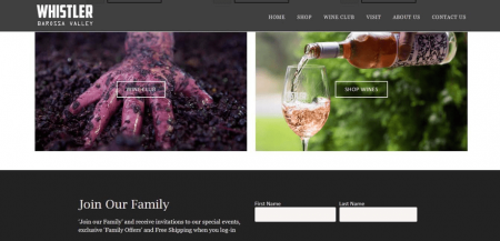 Whistler Wines uses a newsletter signup form to cultivate an engaged email list.