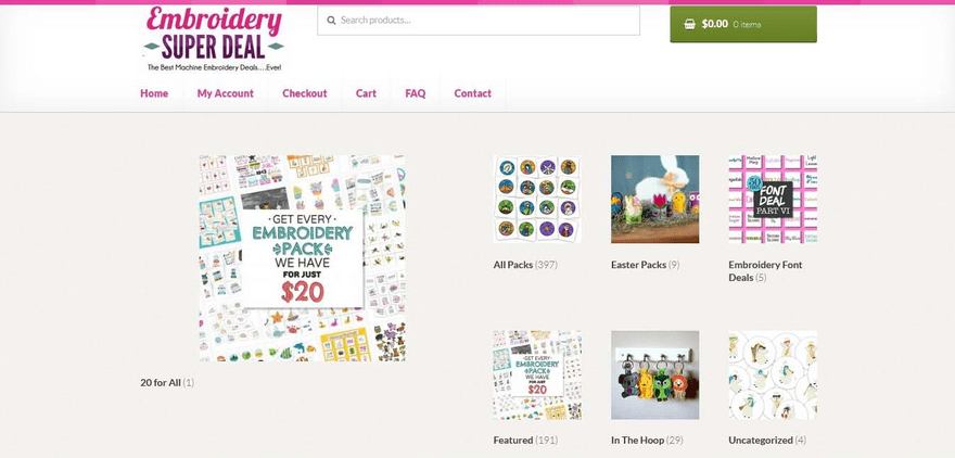 Embroidery Super Deal's Square Online store shows off its featured products on its homepage.