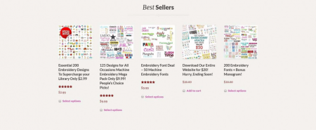Embroidery Super Deal showcases its bestsellers on the website's front page.