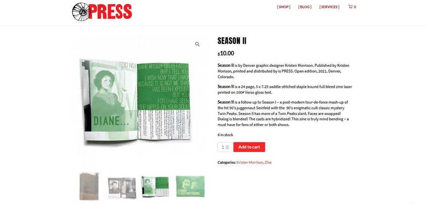 Is Press' product pages call attention to the impressive designs of the company's wares.