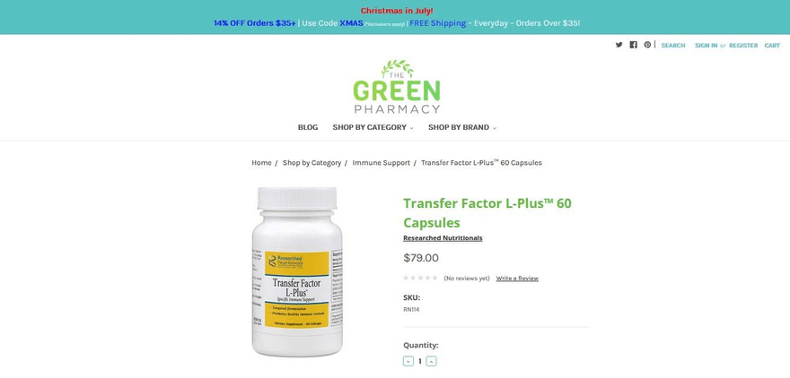 The Green Pharmacy's product page is clean and simple.