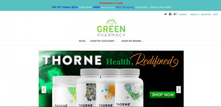 The Green Pharmacy highlights its featured products on the site's homepage.