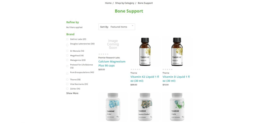 The Green Pharmacy shop page allows filtering by brand.