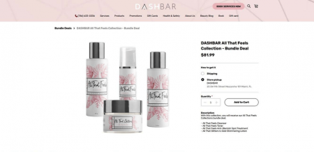DashBar's product page showcases the stylish packaging of its products.