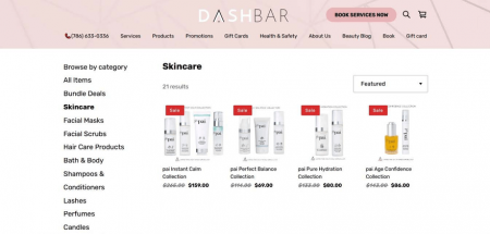 DashBar's shop page allows the sorting and filtering of its products, for simpler navigation.