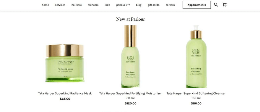 Parlour focuses on selling products on the front page of its Square Online store