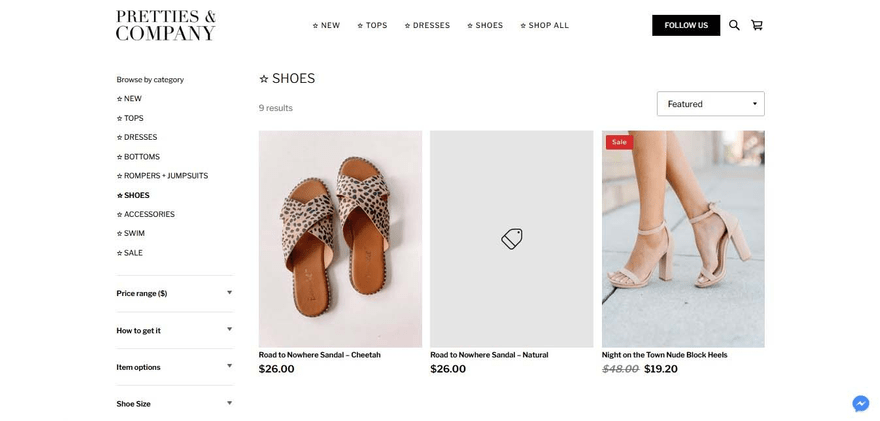 Pretties and Company's shop page has multiple filters and options for sorting its products.