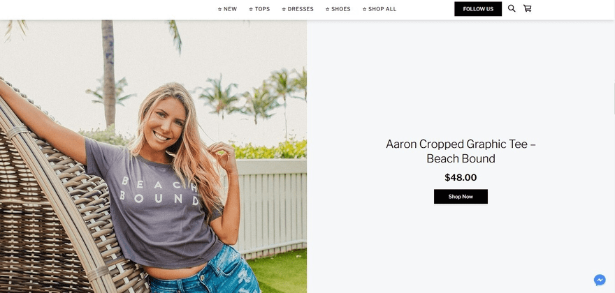 Once again, Pretties and Company uses a stunning visual to feature a product on its homepage.