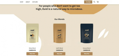 Ouid's homepage features a product collection, with CTAs imploring its customers to 'Shop Now'.