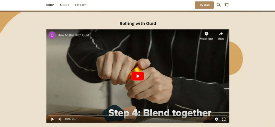 A video engages the customer instantly and demonstrates Ouid's product in action.