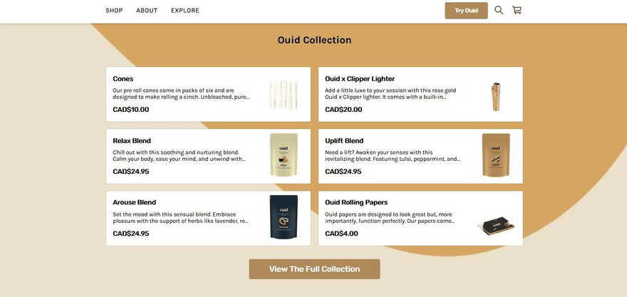 Ouid shows featured collections in a clean layout.