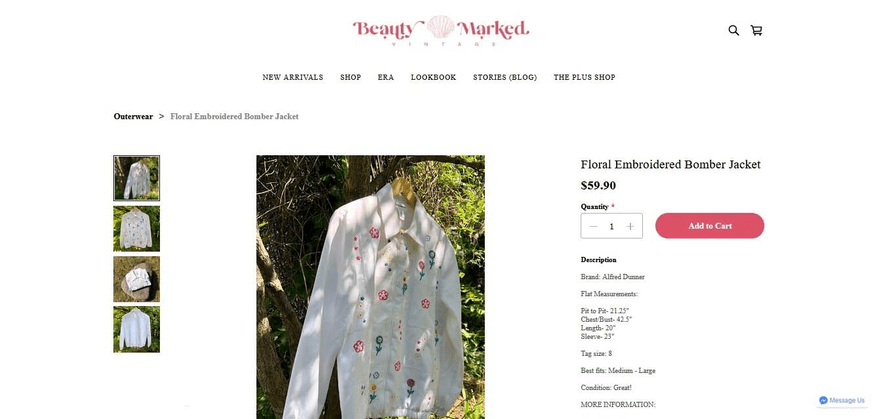 Beauty Marked Vintage's product pages have multiple photos to showcase its wares from different angles.