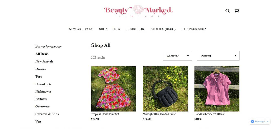 Beauty Marked Vintage's Square Online store has multiple sorting options, to help you find what you're looking for.