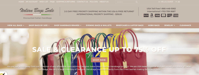 Example of how Italian Bags Sale conducts marketing
