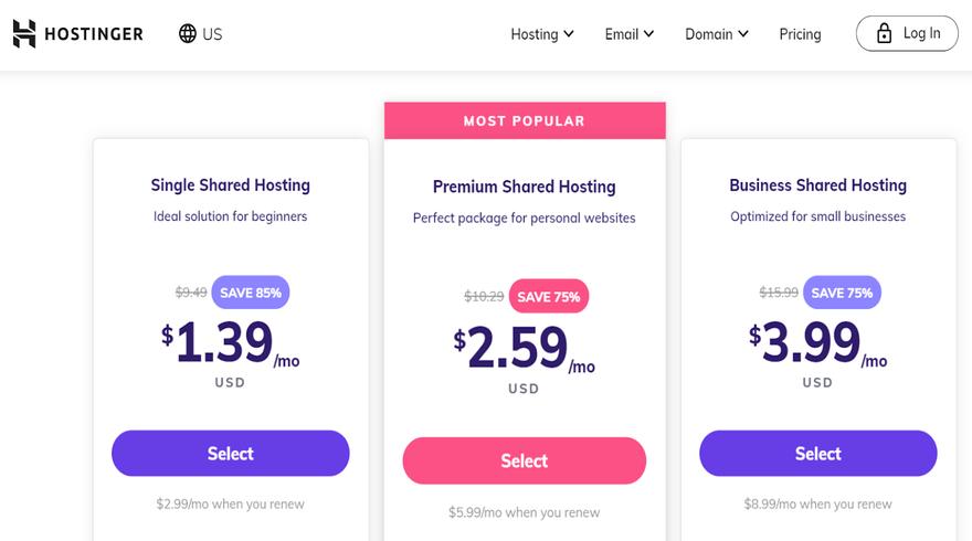 Hostinger pricing