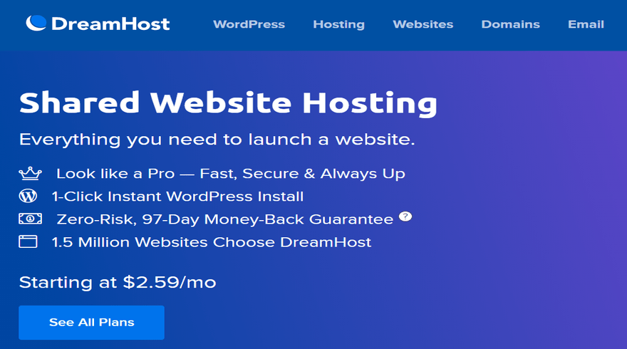 DreamHost money-back guarantee