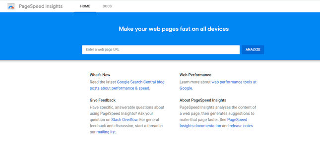 Google Pagespeed Insights helps check a website's performance