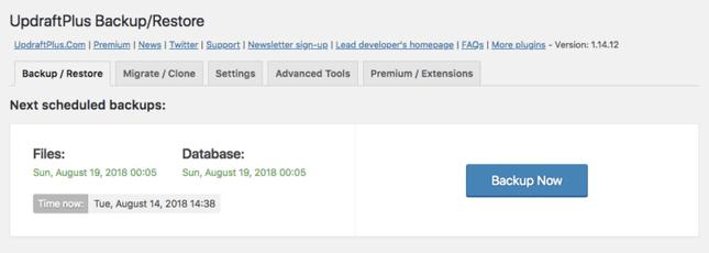 Use UpdraftPlus plugin for website backup
