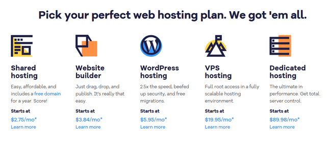 choosing a web host hostgator hosting types