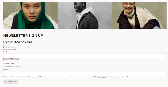 H&M Sign Up Page