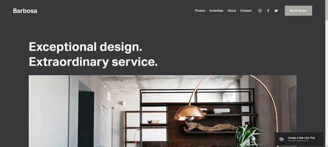 The Barbosa Squarespace template has an appealing design and menu.
