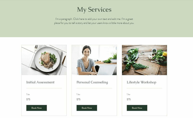 The dietician template has a page dedicated to your services.