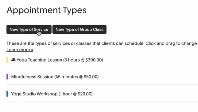 Create a new type of service in Squarespace Scheduling