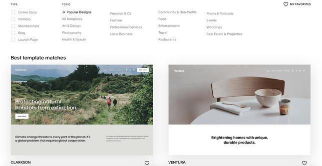 Squarespace templates page