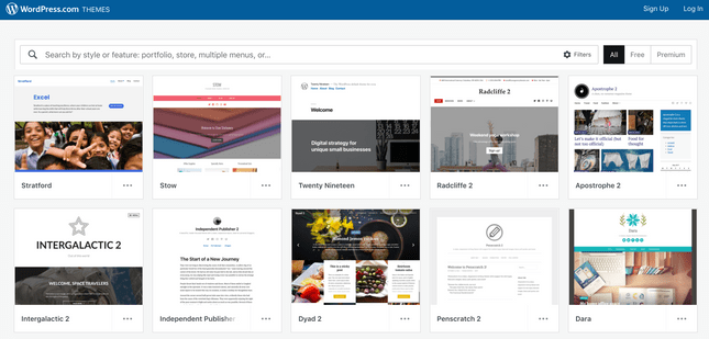 WordPress template page