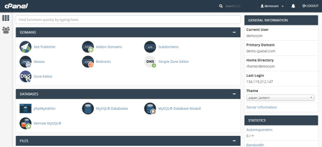 cPanel interface has options like manage domains, databases, web files, and so on.