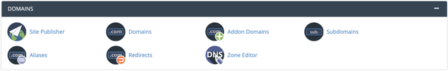 cPanel's Domains Management section has all the settings related to managing website domains.