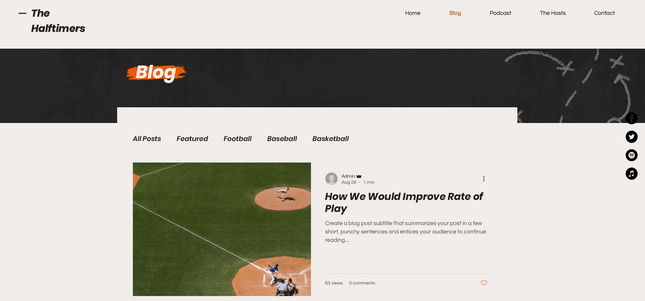 Wix Sports Template