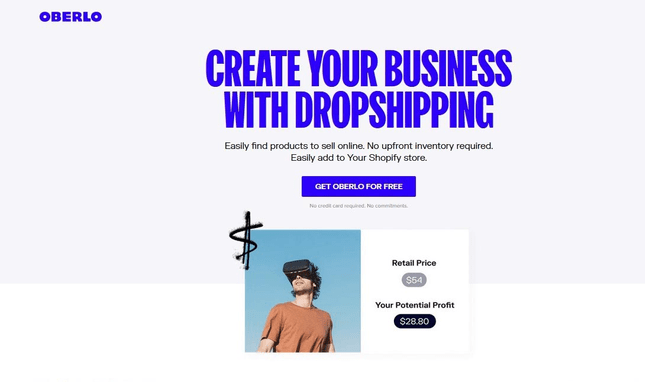 Homepage of Oberlo for Shopify dropshipping.